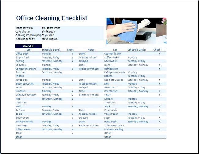 mẫu checklist vệ sinh văn phòng